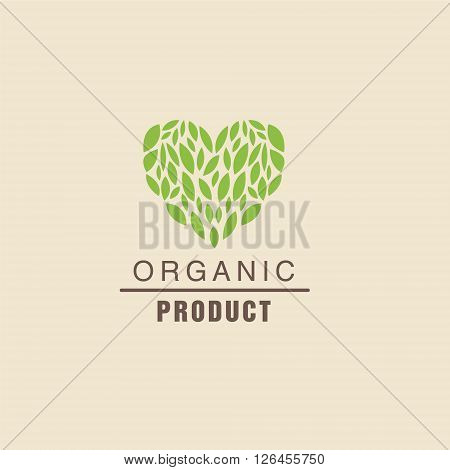 Leaf Heart Above Text Organic Product Logo Cool Flat Vector Design Template On White Backgeound