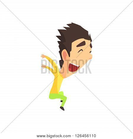 Black Hair Male Character Rejoicing Primitive Geometric Design Flat Isolated Vector Image