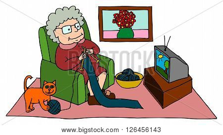Cute grandma knitting while sitting on armchair