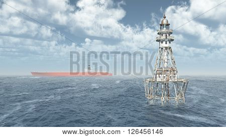 Computer generated 3D illustration with lighthouse and cargo ship