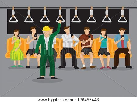 Old man standing inside subway train and all sitting passengers in background looking at mobile phones. Vector cartoon illustration on technology obsession of modern people concept.