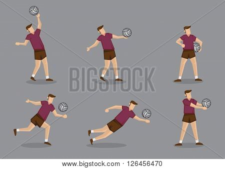 Set of six vector character of volley ball players playing volleyball isolated on grey background.