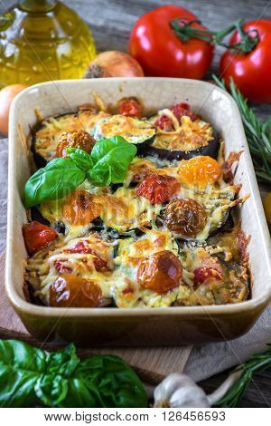 Eggplant,zucchini And Tomato With Mozzarella In Casserole