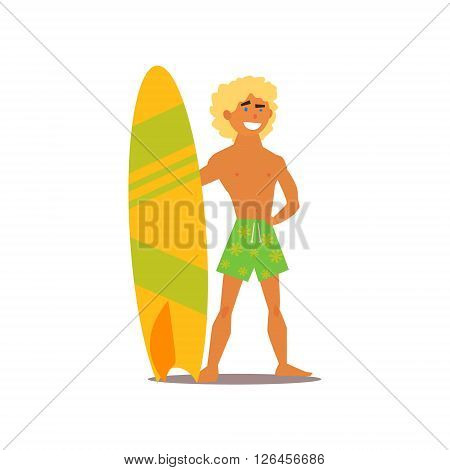 Surfer Guy Isolated Primitive Design Style Vector Illustration on White Background