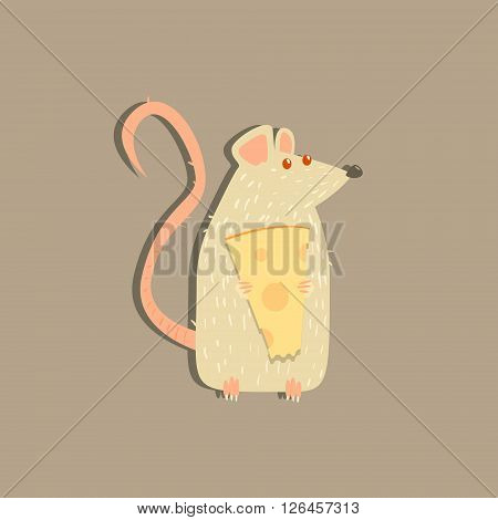 Rat Holding Cheese Funny Flat Vector Illustration In Creative Applique Style