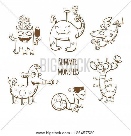 Cartoon summer monsters set. Summer food and drink. Vector image. Children's illustration. Cute monsters collection. Transparent background. Contour image.