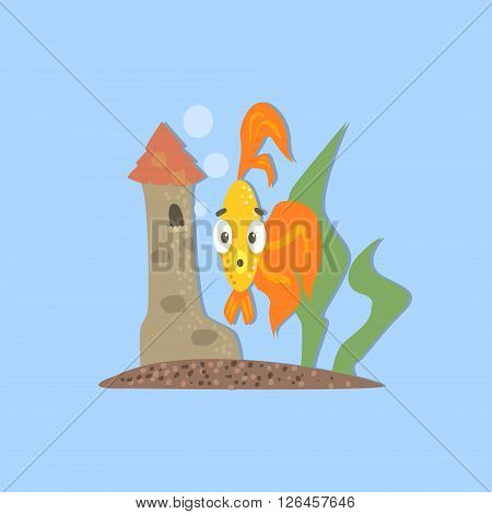 Golden Fish With Castle Funny Flat Vector Illustration In Creative Applique Style