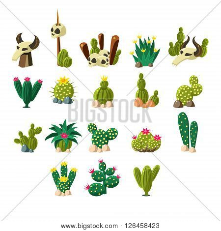 Death Valley Flat Vector Design Icons Set Of Isolated Items on White Background