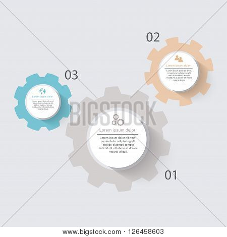 Vector Info Graphics With Cogwheels For Your Business Presentations. Can Be Used For Info Graphics,