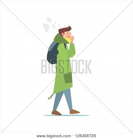 Guy In Green Parka Primitive Vector Flat Isolated Illustration On White Background
