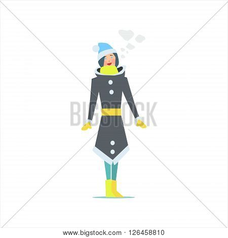 Girl In Winter Long Coat Primitive Vector Flat Isolated Illustration On White Background