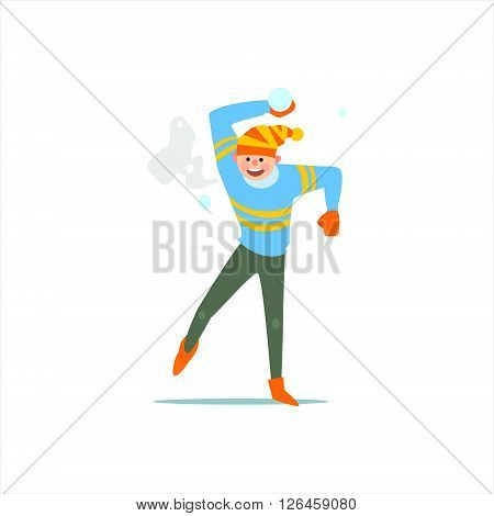 Guy Playing Snowballs  Primitive Vector Flat Isolated Illustration On White Background