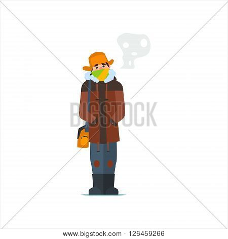 Man In Cap With Flaps Primitive Vector Flat Isolated Illustration On White Background