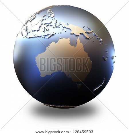 Australia On Metallic Earth
