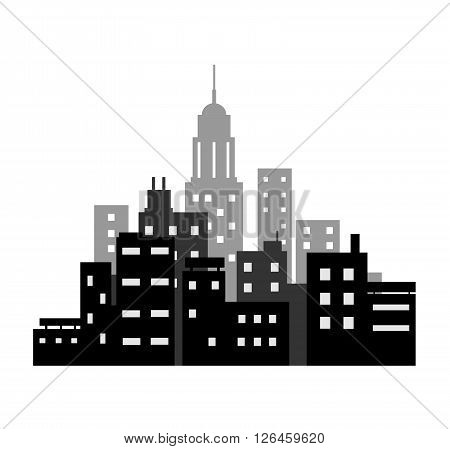 City Silhouette, a hand drawn vector illustration of a city silhouette, filled with buildings and skyscrapers.