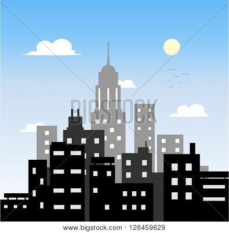 City Morning, a hand drawn vector illustration of a city in the morning.