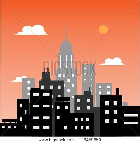 City at Sunset, a hand drawn vector illustration of a city at sunset.