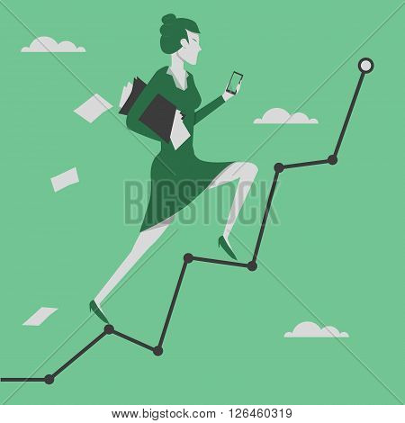 Business concept vector illustration. Woman reaching goal and holding smartphone in her hand.
