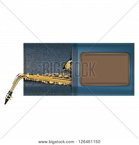 Vector illustration of an saxophone in a pocket of jeans with the logo frame for text or images. isolated object on a white background can be used with any text or image.