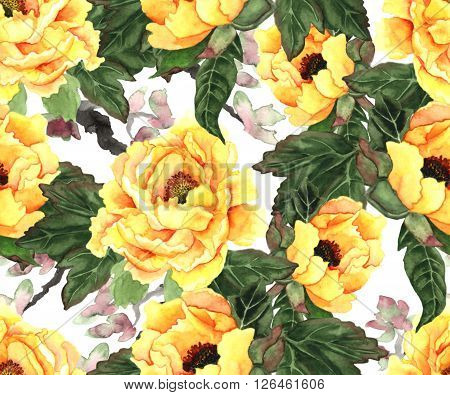 Yellow peonies on white background. Seamless pattern hand drawn with watercolor in japanese style. ** Note: Soft Focus at 100%, best at smaller sizes