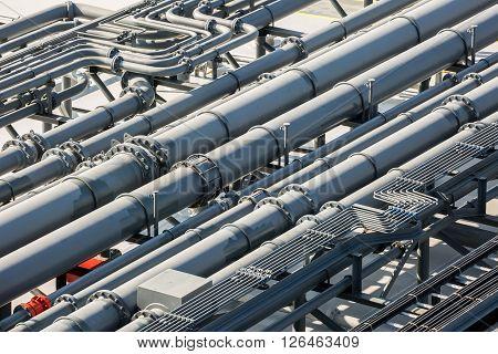 Oil pipeline on the deck of tanker