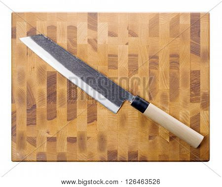 Kiritsuke big knife on board (top view) isolated on white.