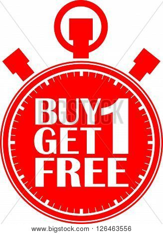 Buy 1 Get 1 Free Red Stopwatch, Vector Illustration