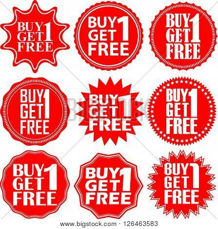 Buy 1 Get 1 Free Red Label. Buy 1 Get 1 Free Red Sign. Buy 1 Get 1 Free Red Banner. Vector Illustrat