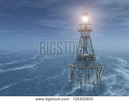 Computer generated 3D illustration with a lighthouse at night in the stormy ocean