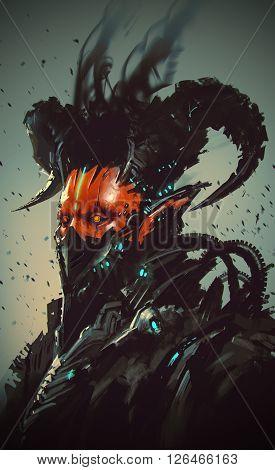 futuristic character, robotic demon, illustration digital painting