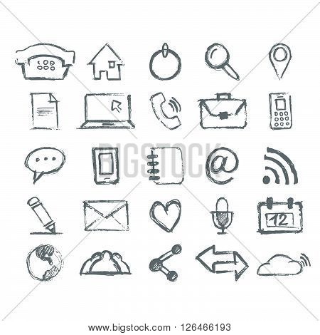 Real Hand draw universal Outline Icons For Web and Mobile
