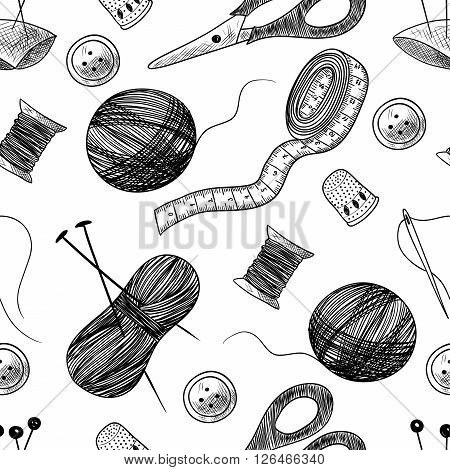 Seamless pattern with sewing things. Thimble, needle, thread, bobbin, scissors. Black and white background
