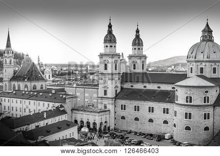 Cityscape of the historic city of Salzburg Austria