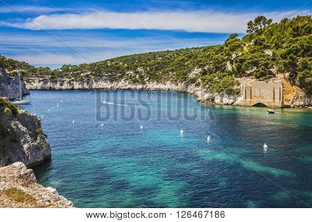 Provence, France, spring. Abrupt stony coast and turquoise sea surface. Famous National Park Calanques on the Mediterranean coast