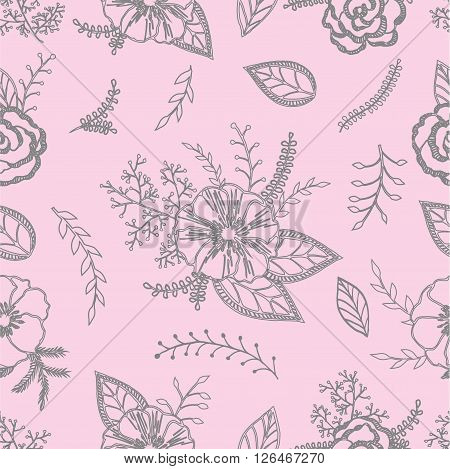 Seamless floral pattern with bouquet of flowers on a delicate pink background. Roses anemones leaves twigs.Grey and Pink.