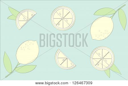 variants of yellow lemons on a green background