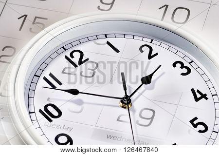 Wallmount clocks fragment and calendar macro shot