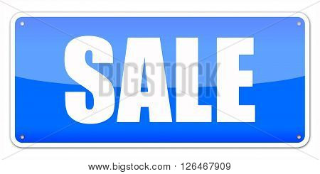 Blue card SALE isolated over white background