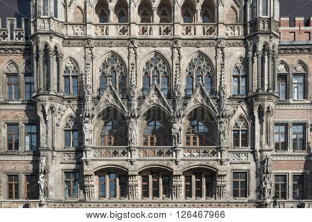 Close up of the tower of the new town hall in Munich Germany Europe