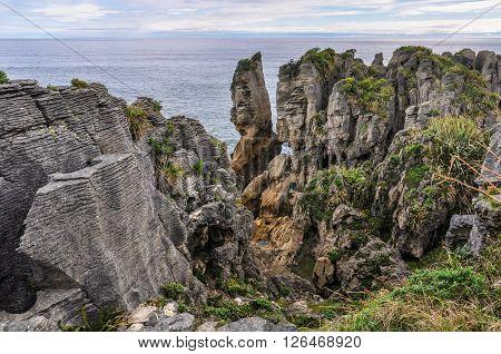 Pancake Rocks In Punakaiki, New Zealand