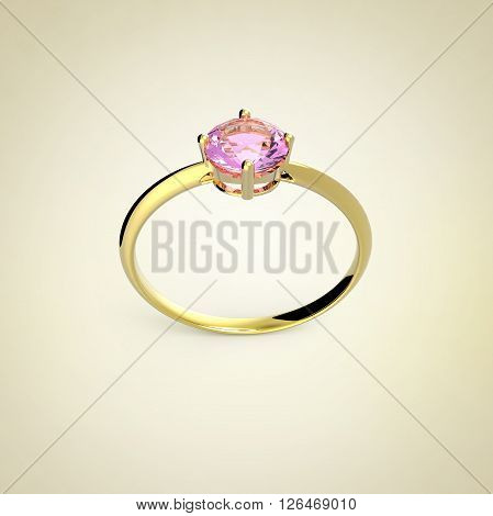 Wedding ring with a diamond on a light background. Sign of love. Fashion jewelery