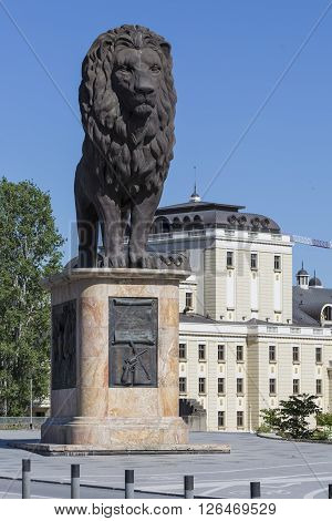 Skopje, Macedonia - April 14, 2016: Lion Sculpture On The Western Side Of The Goce Delcev Bridge Ove