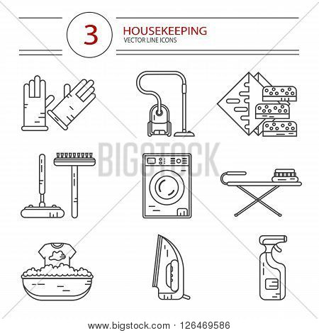 Vector modern line style icons set of household cleaning. Vacuum cleaner, washing machine, gloves, iron, ironing board, brush and mop, wiper, sponges. Housekeeping equipment, accessories.
