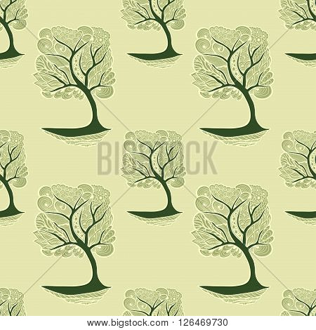 Seamless pattern  with Zen-tangle or Zen-doodle tree in  green olive on wallpaper  or package for decoration different things