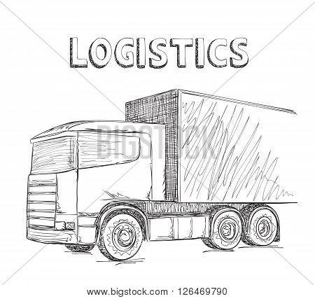 Delivery service. Hand drawn truck sketch. International transport.