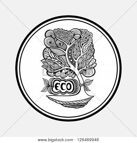 Badge or icon  with Zen-tangle or Zen-doodle tree black on white in circle or template emblem or symbol  ecology  or creative concept ecological researches  or scientific eco conference