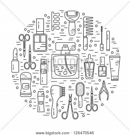Vector modern line style color icons concept of beauty, makeup and cosmetics products. Perfume bottle, shampoo, lipstick, lip gloss, nail polish, brushes, deodorant, brush. Round shape illustration.