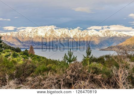 Snowy Peaks Near Queenstown In Southern Lakes, New Zealand