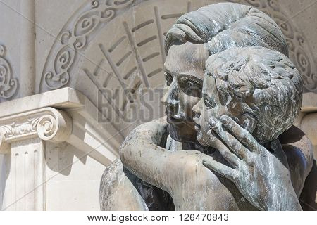 Large Water Fountain And Bronze Sculptures Of Adults And Children In Skopje, Macedonia, Europe.