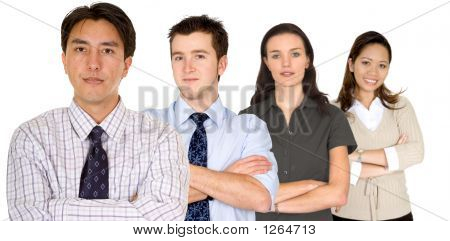 Confident Business Man And His Business Team